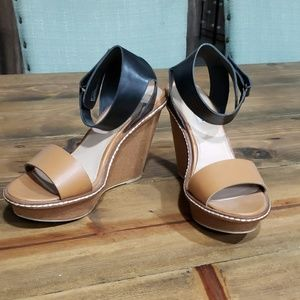 Black and tan strappy wedge